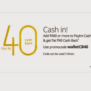 Recharge offer: Get Paytm Wallet Rs.40 cashback on Rs. 400 Recharge