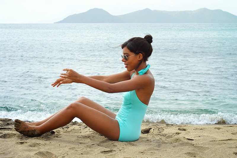 Miami Fashion Blogger Anais Alexandre from Down to Stars in a turquoise one piece