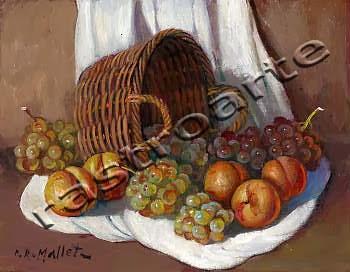 Bodegón con canasta, albaricoques  y uvas