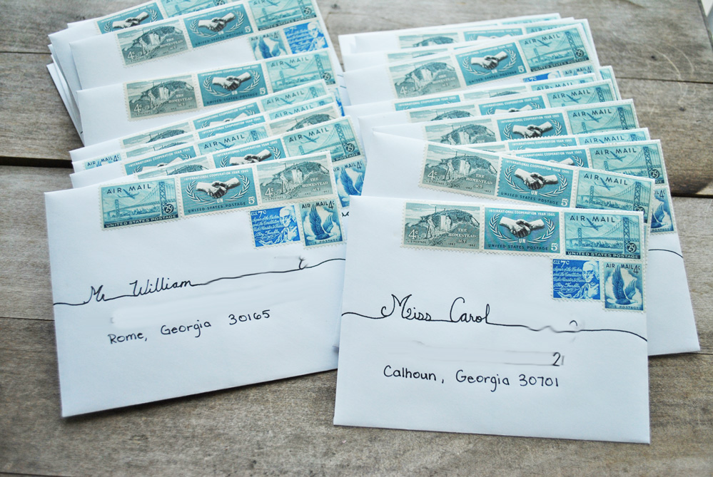of the fountain: vintage postage for wedding invitations, Wedding invitations