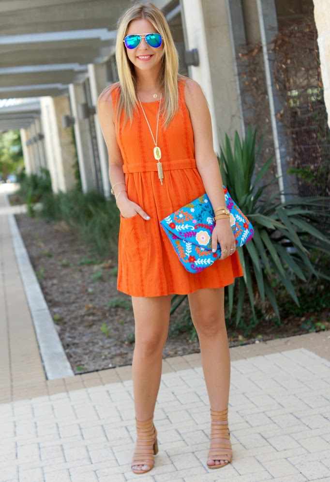 Topshop Orange Sleeveless Tunic Dress