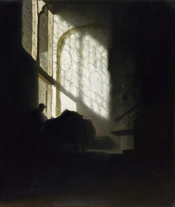 Seguidor de Rembrandt - Un hombre sentado leyendo (1628-1630)