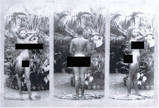 "Human zoos existed 16 Depressing Photos That Will Destroy Your Faith In Humanity - Sarah Baartman – the girl who embodied the inhumanity of the human zoos, here, being ""exhibited""."