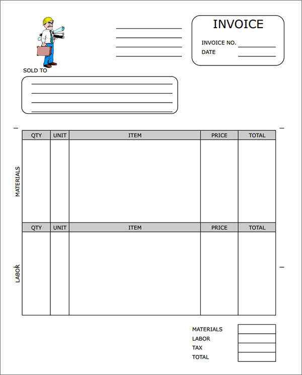 Construction Invoice Templates sehadetvakti – Download Invoice Free