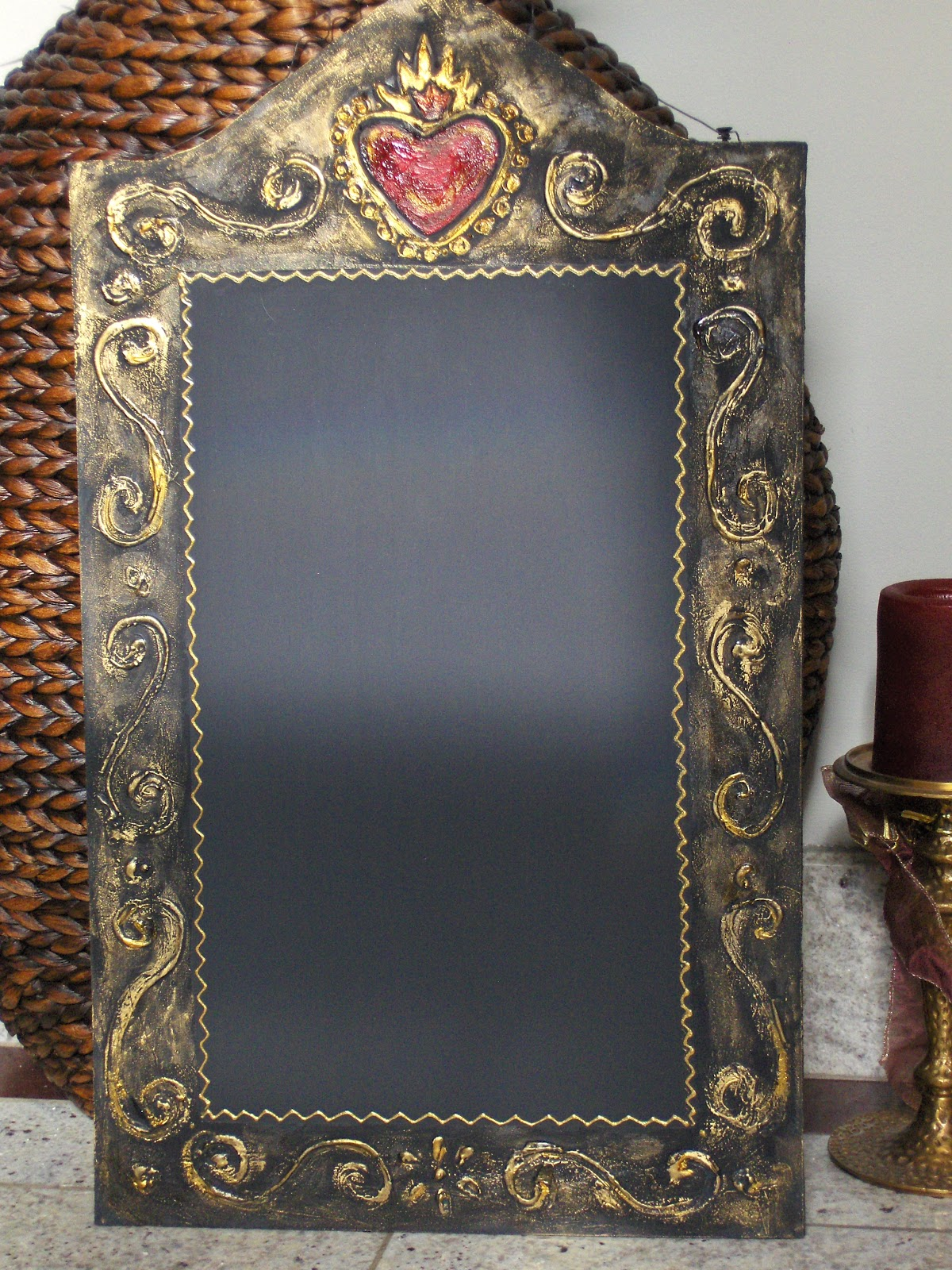 mexican wrought iron chalkboards rubbed silversmouldering gold - Decorative Chalkboards