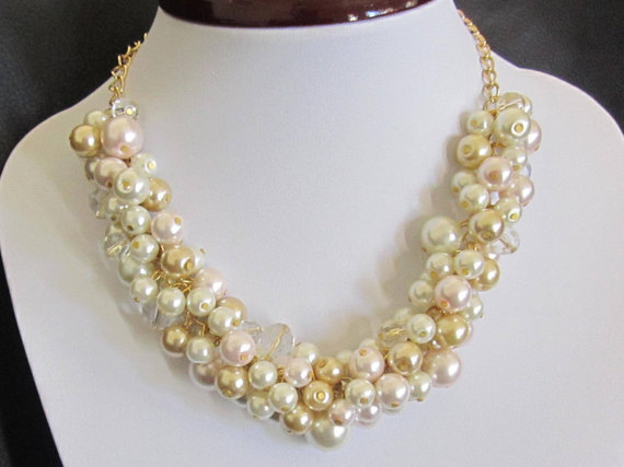 Pearl Cluster Necklace in Ivory, Blush Pink and Gold