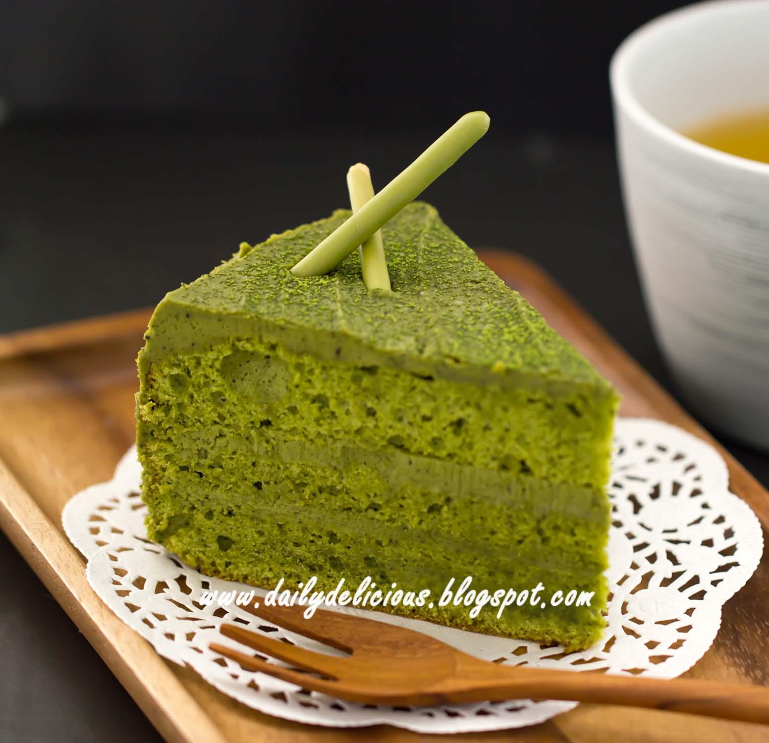 dailydelicious: Green tea chiffon cake with Green tea white chocolate ...