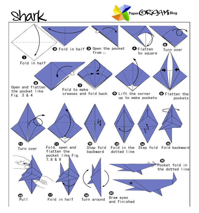 shark origami paper origami guide rh paperorigamiblog com origami shark instructions hard Origami Great White Shark Diagram PDF