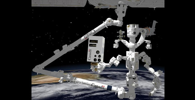 This computer-generated image shows Dextre (right) on the end of Canadarm2, holding an advanced vision system. The Canadian Space Agency's robotic helper will use it to inspect and protect the International Space Station's external surfaces. Dextre's new vision system will be launched to the International Space Station in 2020. (Credit: Canadian Space Agency, Neptec.)