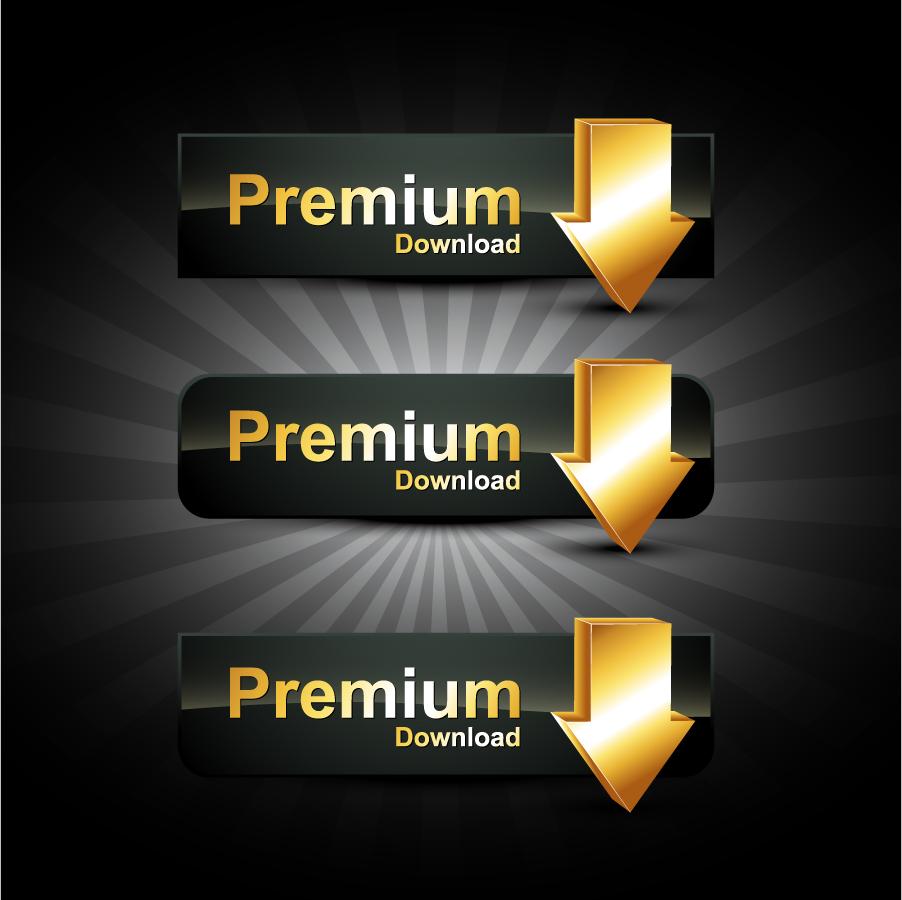 金色のダウンロード ボタン gold badge labels イラスト素材