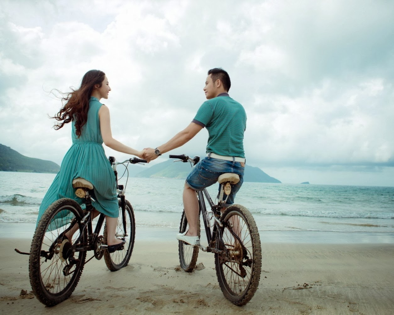 Romantic Love Couple In Cycling Mood
