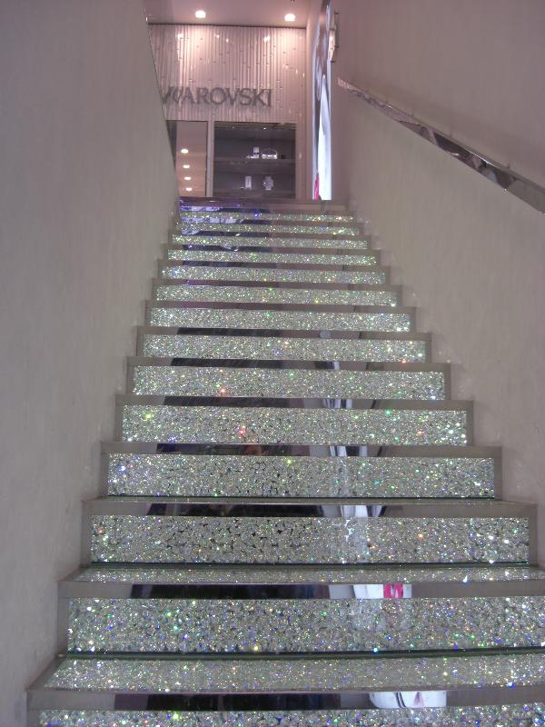 Designing For Living: Swarovski crystal stair case on the Champs Elysee