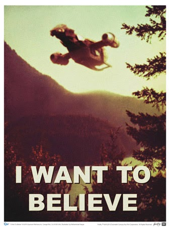 parodie de l'affiche I want to believe dela serie x files