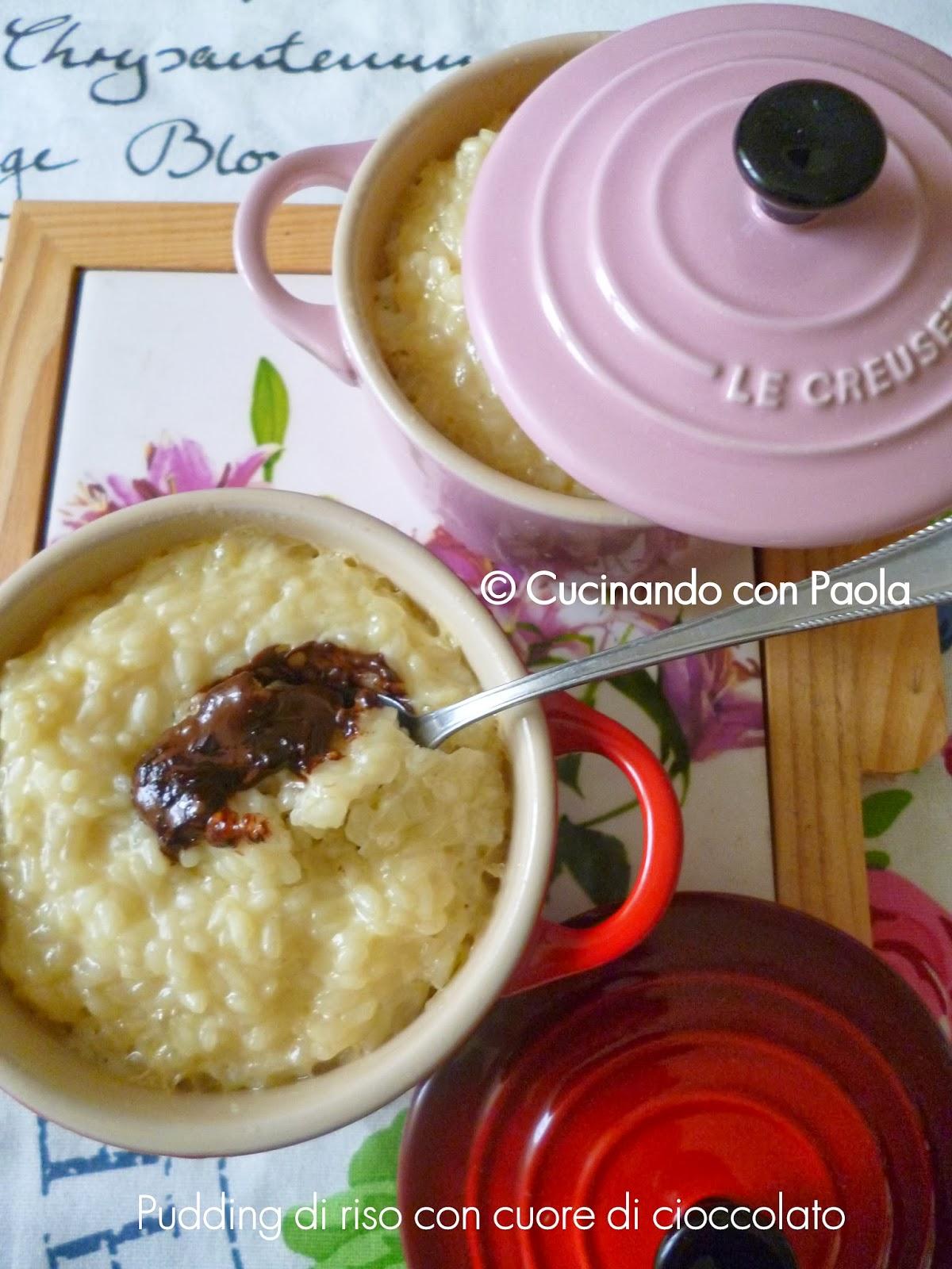pudding di riso con cuore di cioccolato fondente