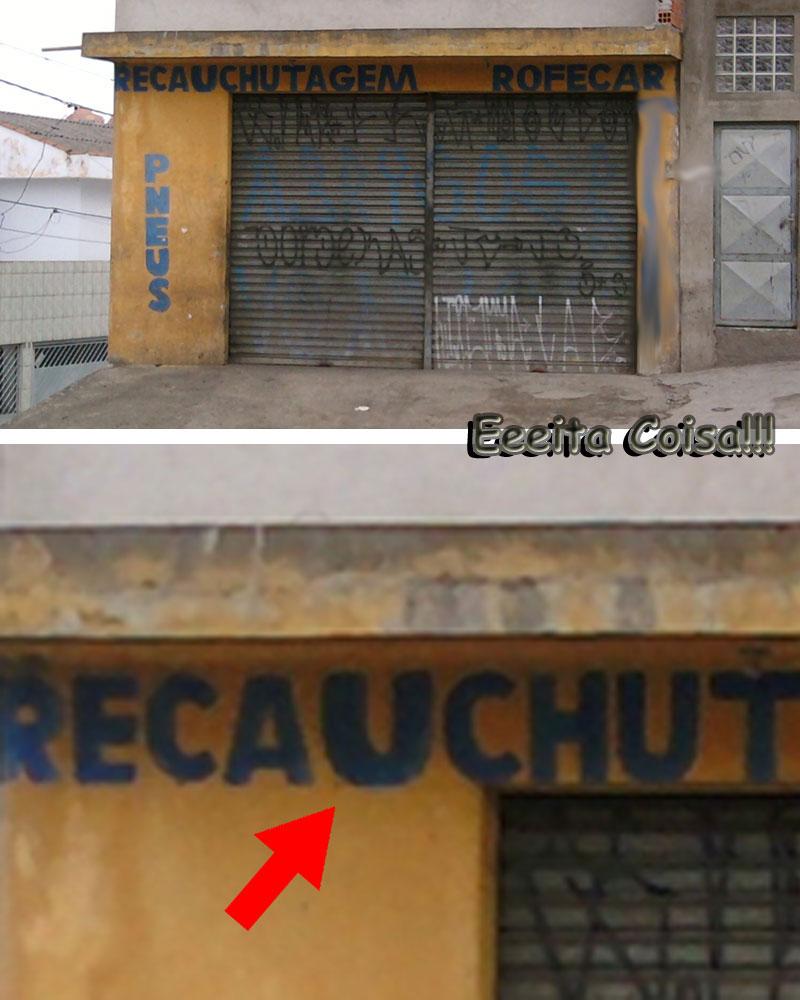 recauchutagem na fachada da borracharia parece que foi consertado porque estava escrito errado