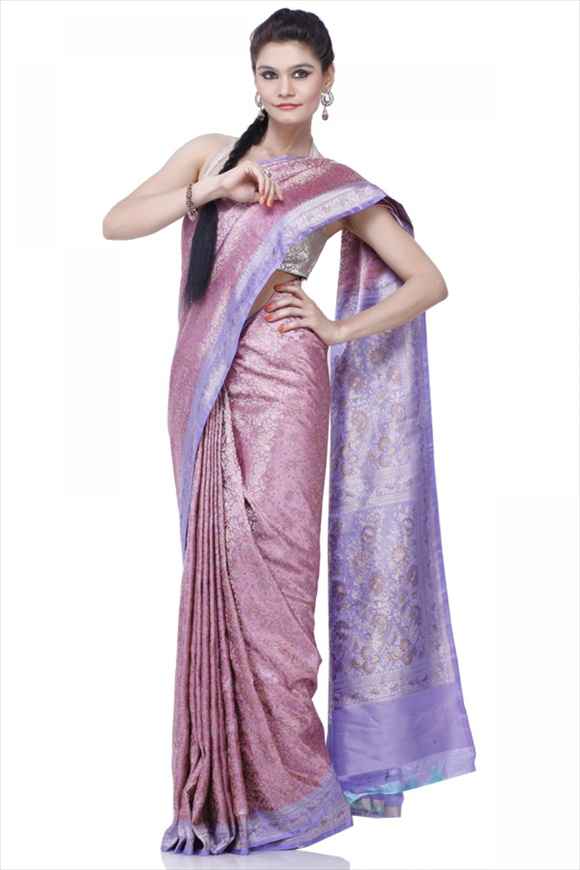 Rose Pink Satin Banarasi Saree