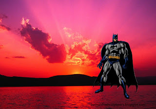 Wallpapers of Batman Dark Knight prepared for action in Sunset Landscape Desktop Wallpaper
