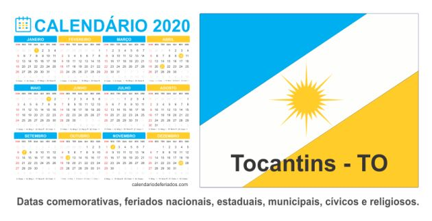 Calendário do Estado de Tocantins - TO
