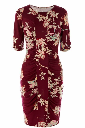 Burgandy floral patterned Oasis dress