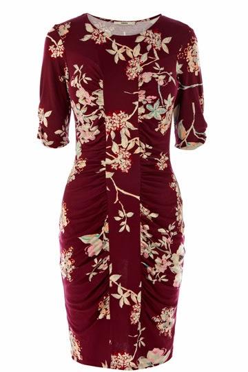 Burgandy floral patterned Oasis dress