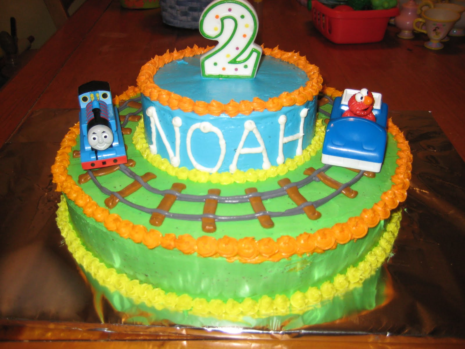 Noah Had His 2 Favorites On 2nd Birthday Cake Thomas The Train Elmo