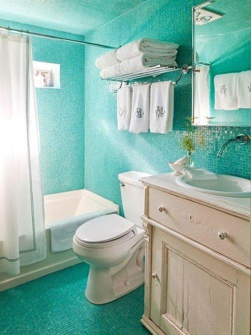 Baño Color Verde Agua:BAÑOS EN COLOR AZUL