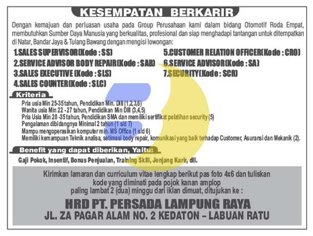 Bursa Kerja PT. Persada Lampung Raya, KARIR TERBARU di PERSADA LAMPUNG