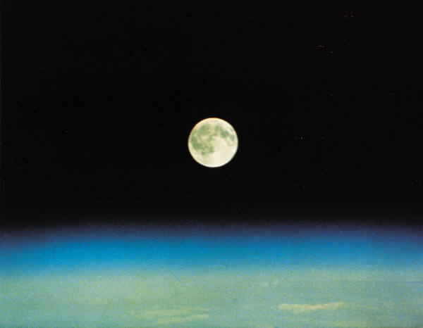 Moon with dark space over Earth