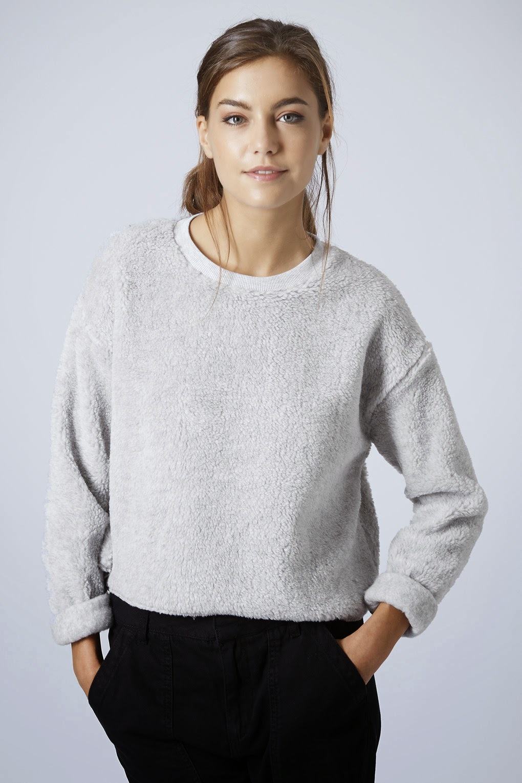 topshop grey fluffy jumper