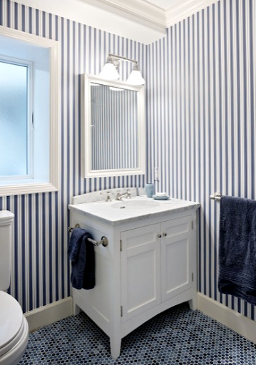 vertical blue wall stripes in bathroom