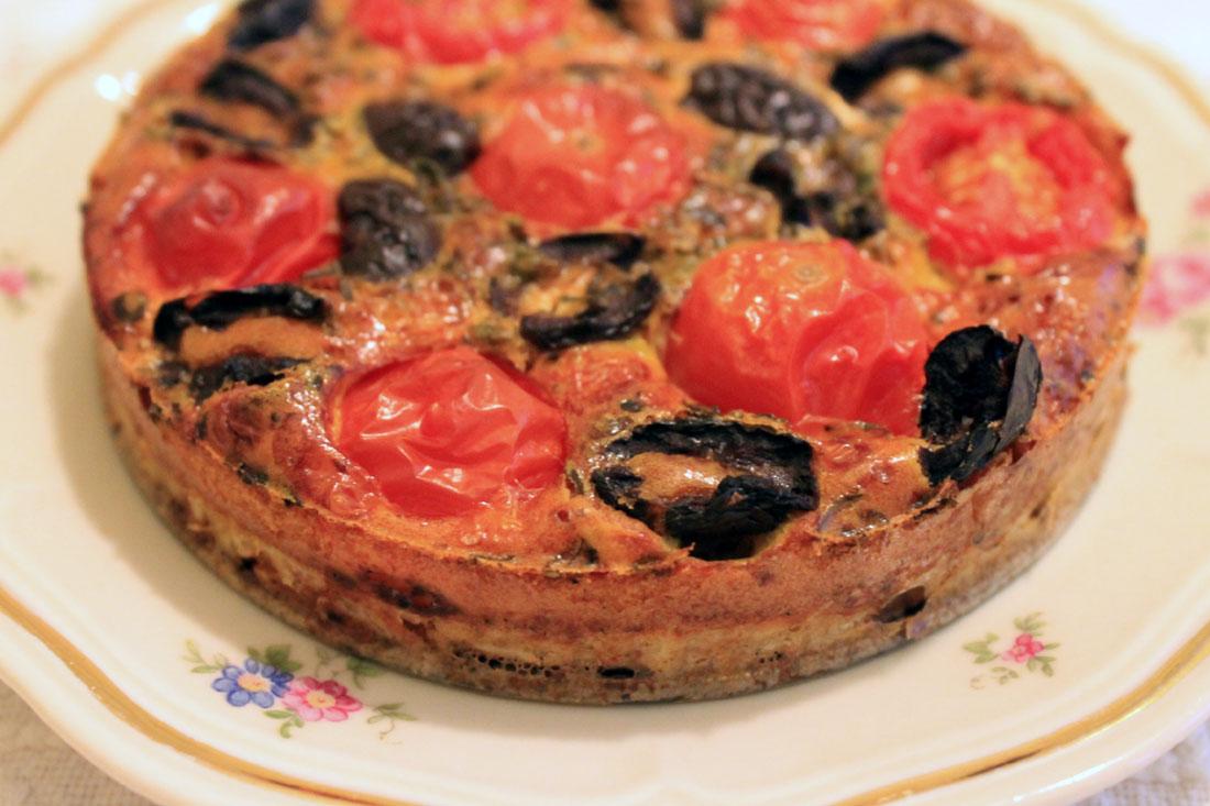 Tomat- & olivpaj med ris