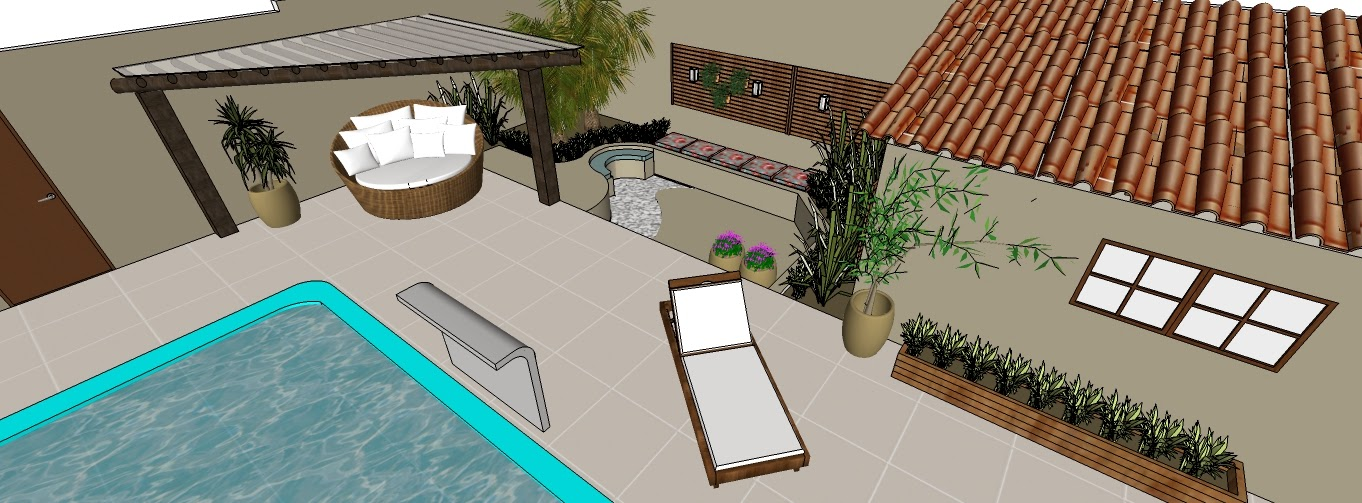 Jardim piscina e rea de churrasqueira for Mobiliario piscina