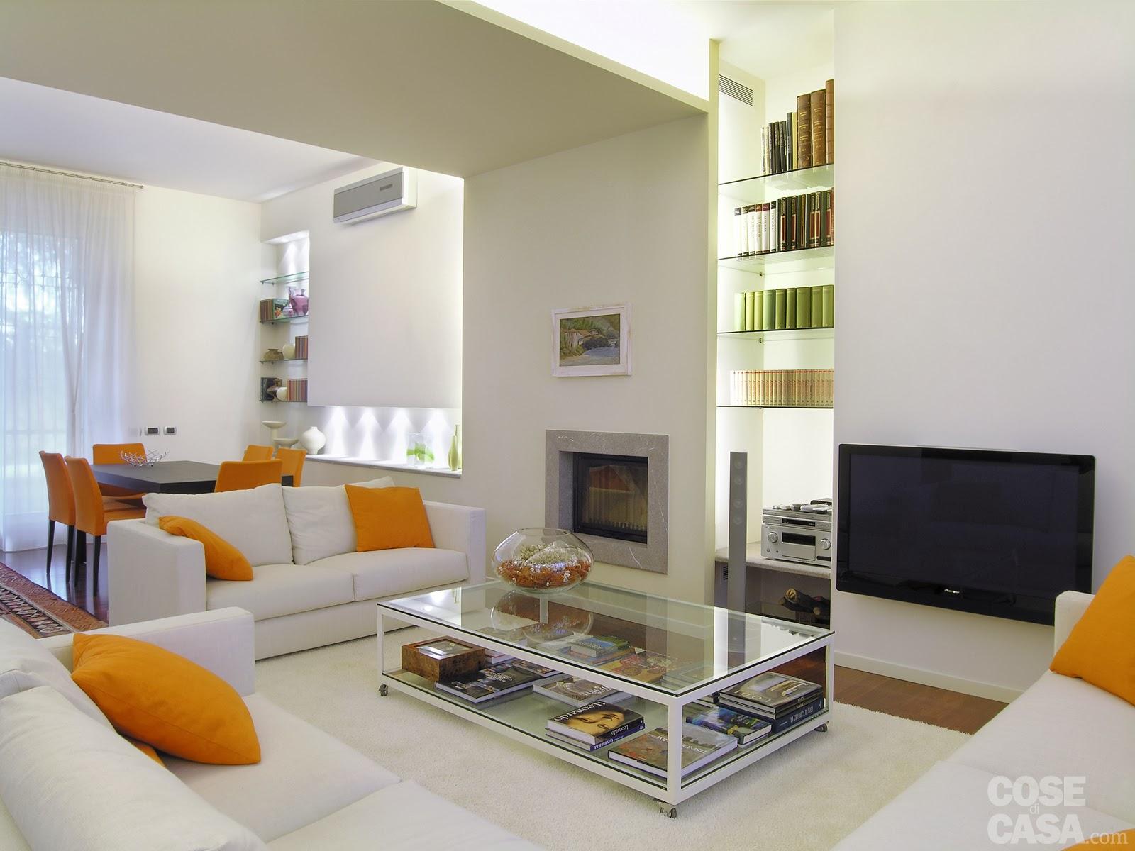 arredare il salotto fai da te: arredo soggiorno moderno bianco ... - Tende Per Dividere Cucina Da Soggiorno 2