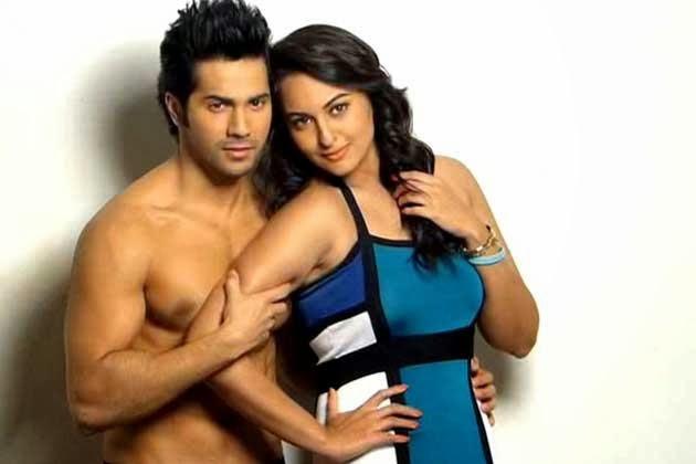 Varun Dhawan holding Sonakshi Sinha seducing photoshoot sexy pics unseen