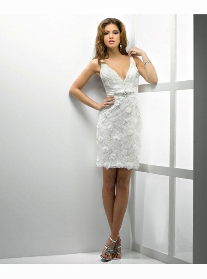 queusar: vestido de novia corto, cuello v, sin mangas y falda tubo