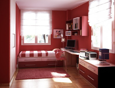 Cool Teen Red Dorm Room layout for guys