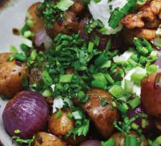 Warm caramelised potato and onion salad