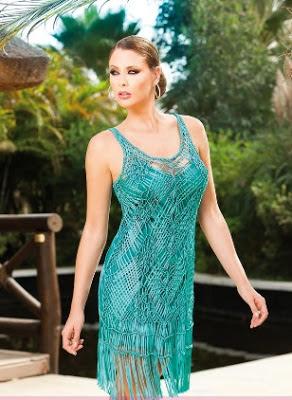 Olimara vestido turquesa flecos 2013