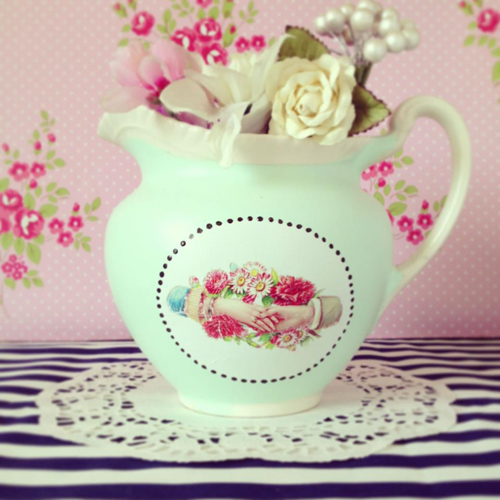 Pilfered+Decoupage+Transferred+Plates+Vintage+Decal+on+Mint+Jug Painted and Decoupage Retro Vintage Patterned Crockery From Pilfered