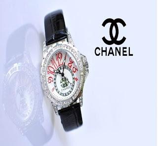 jam tangan keren CHANEL 11196 BLACK SILVER