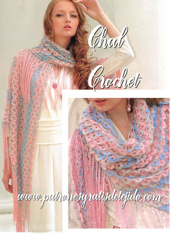 Chal tejido al crochet con punto escama o punto cocodrilo