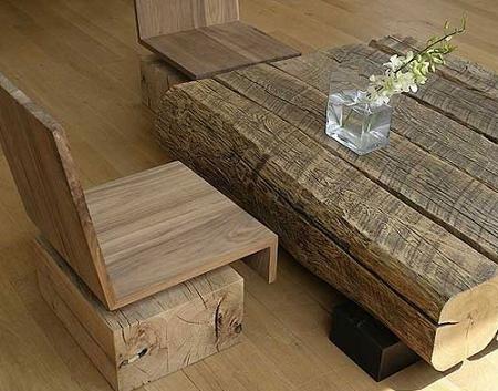 Arte y arquitectura madera reciclada bancos mesas y - Mesas de troncos de madera ...