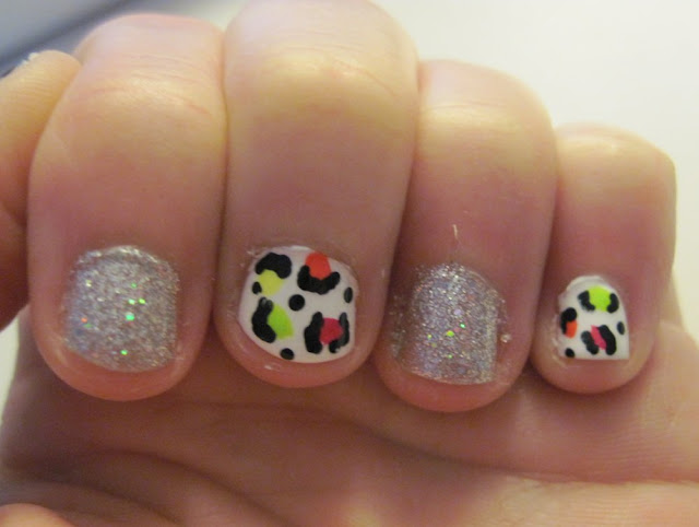 neon glitter leopard nails