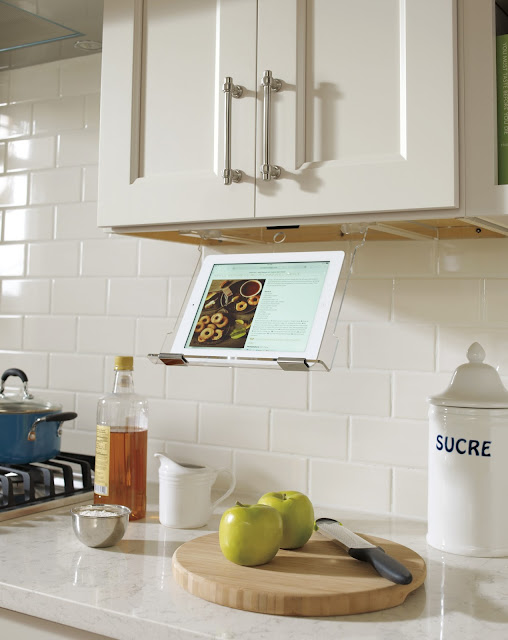 Tablet Holder under cabinet :: OrganizingMadeFun.com