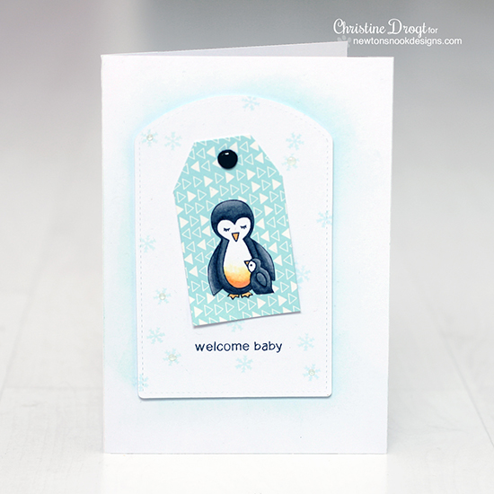 Penguins welcome baby card by Christine Drogt for Newton's Nook Designs | Wild Child Stamp Set