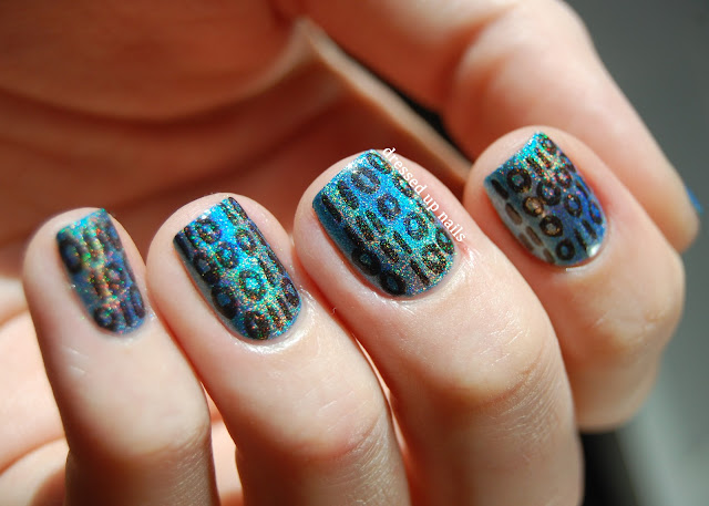 Dressed Up Nails - holographic binary nail art with Color Club Over the Moon and Beyond
