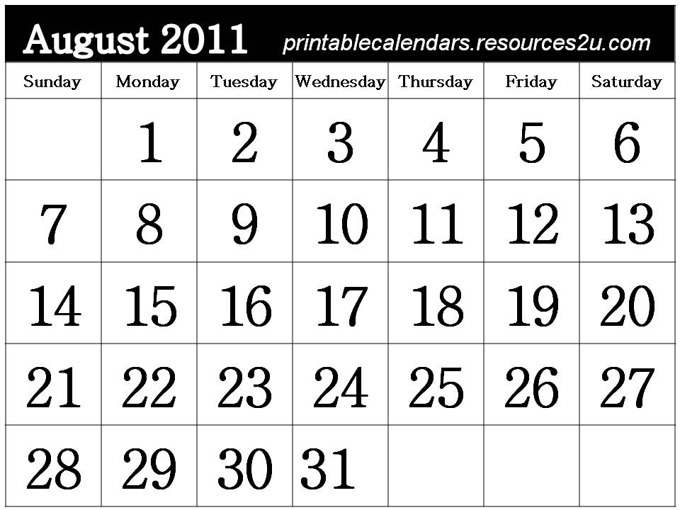 calendars 2011 august. Free Printable August 2011