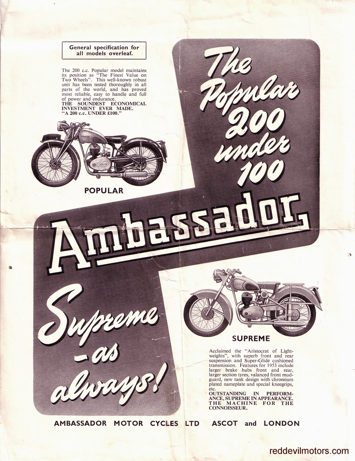Vincent motorcycle brochure 1952 front cover - Ambassador Motorcycles 1952 The Ambassador Brochure