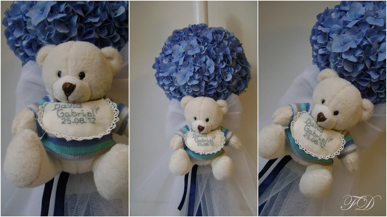 flower decor mini lumanare botez cu hortensie albastra si ursulet alb. Black Bedroom Furniture Sets. Home Design Ideas