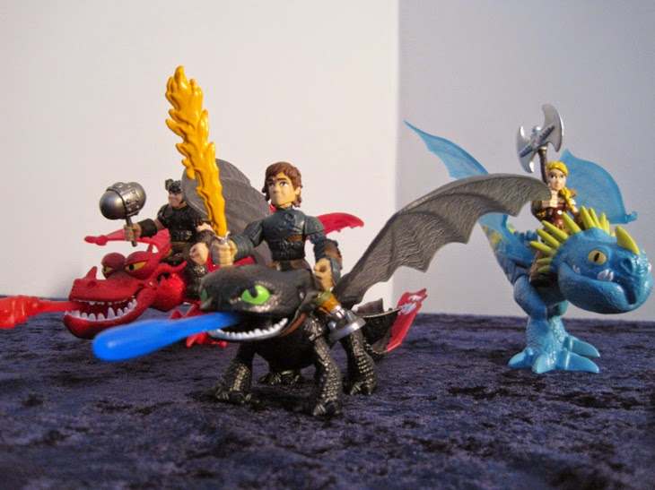 Left to right: Snotlout and Hookfang, Hiccup and Toothless, Astrid and Stormfly.